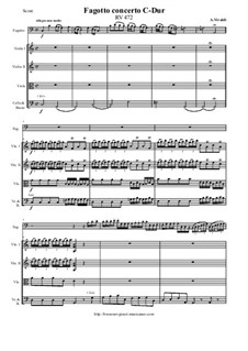 Concerto for Fagotto and Strings in C Major, RV 472: Score and parts by Антонио Вивальди