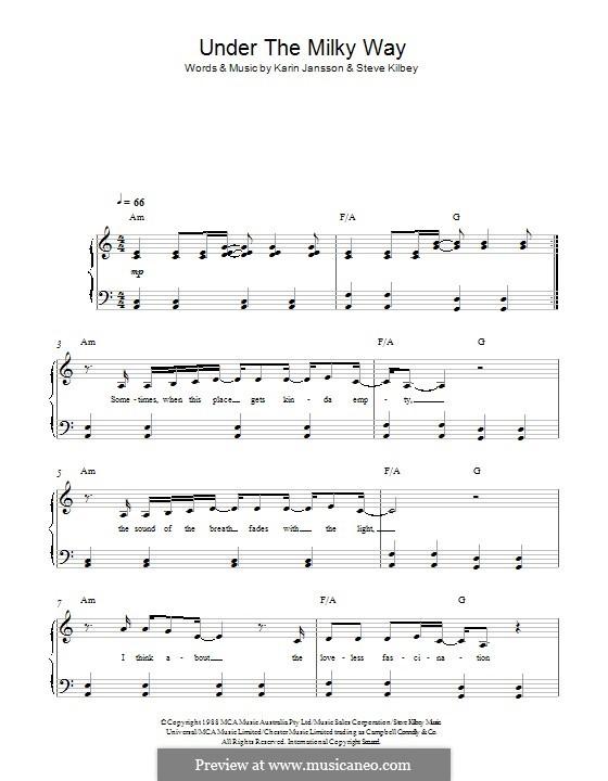 Under the Milky Way (The Church): Для фортепиано by Karin Jansson, Steve Kilbey