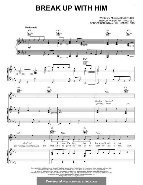 Break Up with Him (Old Dominion): Для голоса и фортепиано (или гитары) by Trevor Rosen, Matthew Ramsey, Brad Tursi, George Sprung, William Sellers