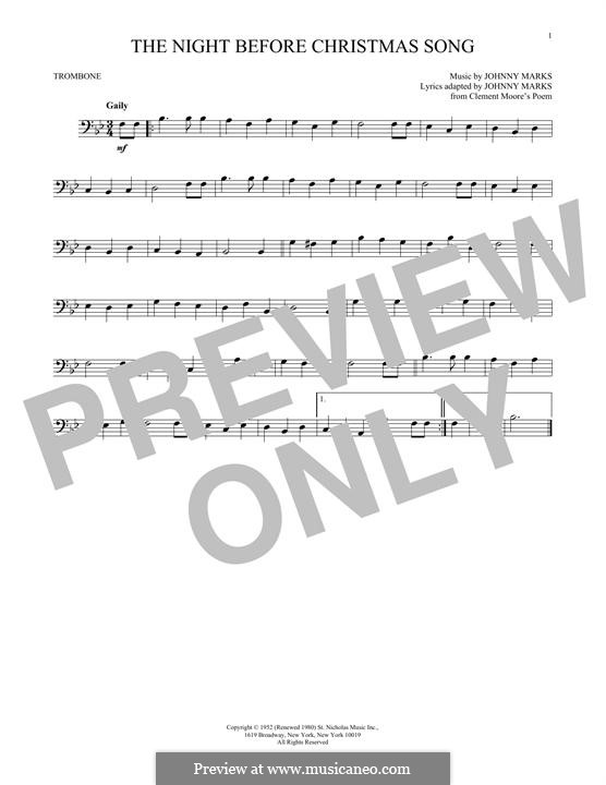 The Night Before Christmas Song: For trombone by Johnny Marks