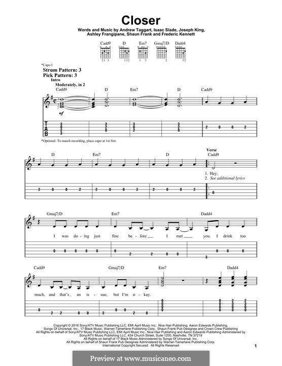 Closer (The Chainsmokers): Гитарная табулатура by Isaac Slade, Joseph King, Andrew Taggart, Ashley Frangipane, Frederic Kennett, Shaun Frank