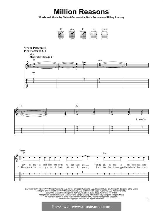 Million Reasons (Lady Gaga): Гитарная табулатура by Hillary Lindsey, Mark Ronson, Stefani Germanotta