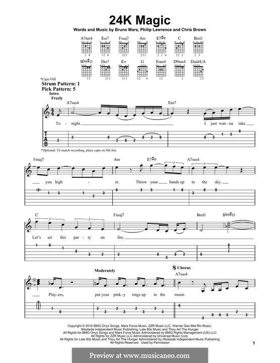 24K Magic: Гитарная табулатура by Christopher Brown, Bruno Mars, Philip Lawrence