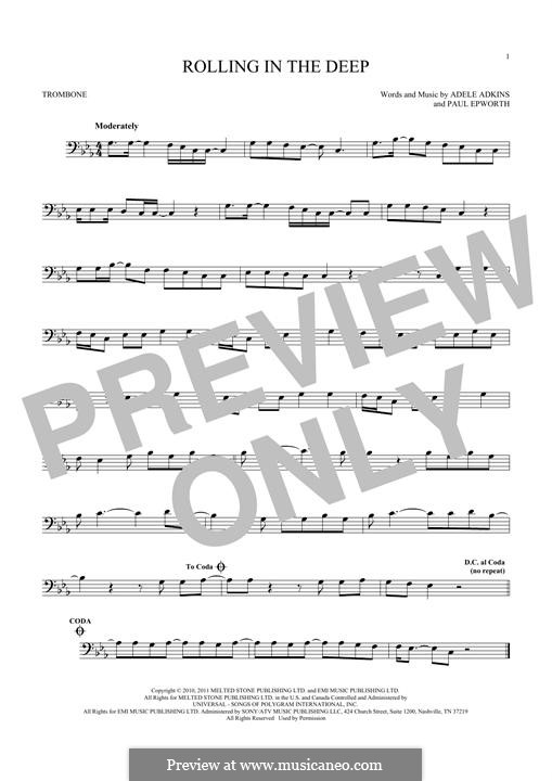 Rolling in the Deep: For trombone by Adele, Paul Epworth