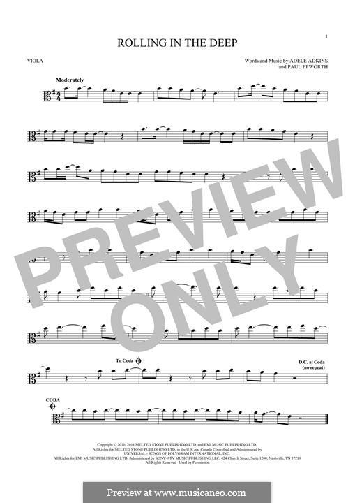 Vocal-instrumental version: For viola by Adele, Paul Epworth