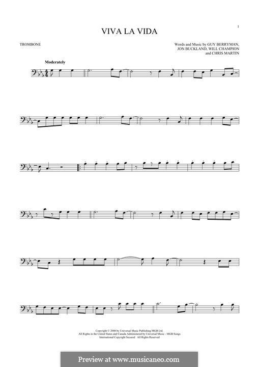 Instrumental version: For trombone by Chris Martin, Guy Berryman, Jonny Buckland, Will Champion