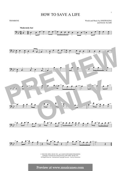 How to Save a Life (The Fray): For trombone by Isaac Slade, Joseph King
