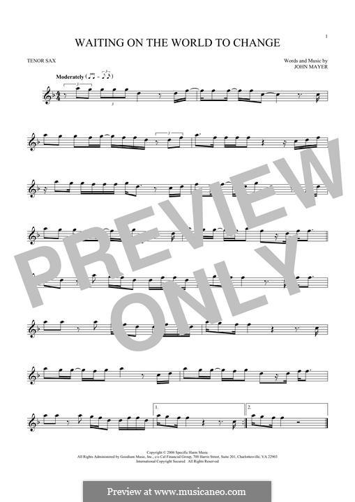 Waiting on the World to Change: Для тенорового саксофона by John Mayer