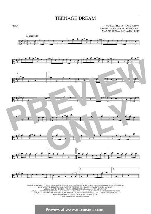 Teenage Dream: For viola by Benjamin Levin, Bonnie McKee, Katy Perry, Lukas Gottwald, Max Martin