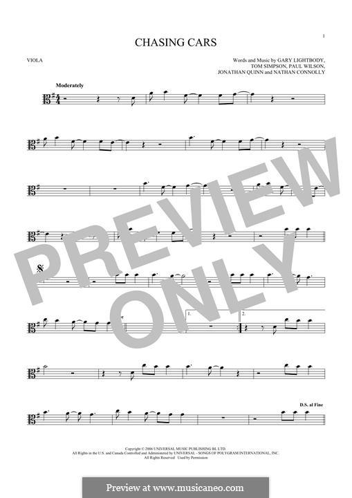 Chasing Cars (Snow Patrol): For viola by Gary Lightbody, Jonathan Quinn, Nathan Connolly, Paul Wilson, Tom Simpson