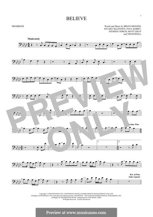 Believe (Cher): For trombone by Brian Higgins, Paul Barry, Stephen Torch