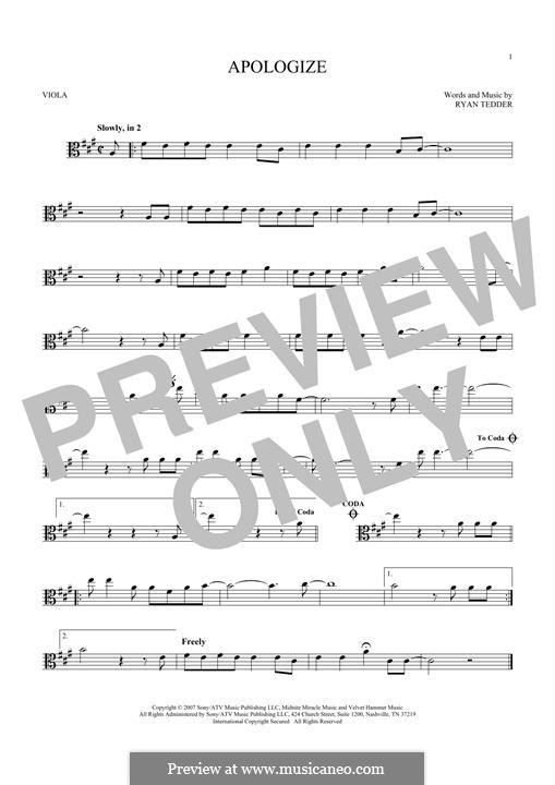 Apologize (OneRepublic): For viola by Ryan B Tedder