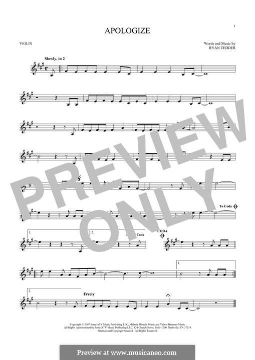 Apologize (OneRepublic): Для скрипки by Ryan B Tedder