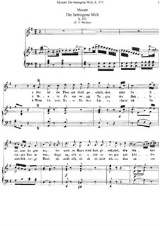 Die betrogene Welt, K.474: Klavierauszug mit Singstimmen by Вольфганг Амадей Моцарт