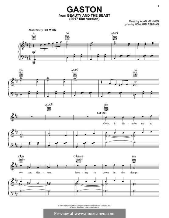 Gaston (from Beauty and the Beast): Для голоса и фортепиано (или гитары) by Alan Menken