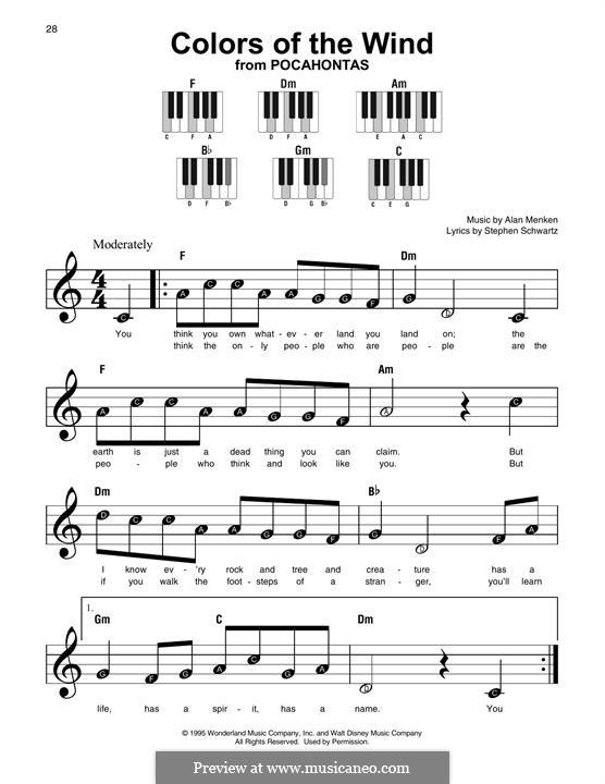 Colors of the Wind: Мелодия by Alan Menken
