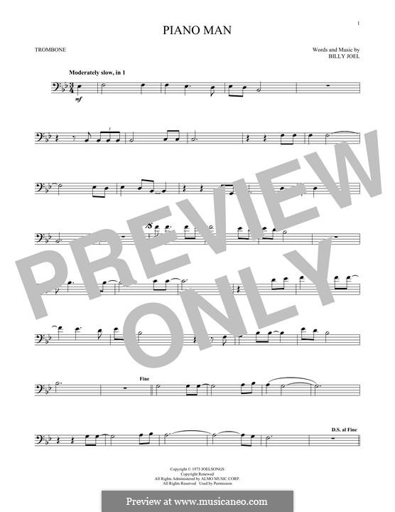 Piano Man: For trombone by Billy Joel