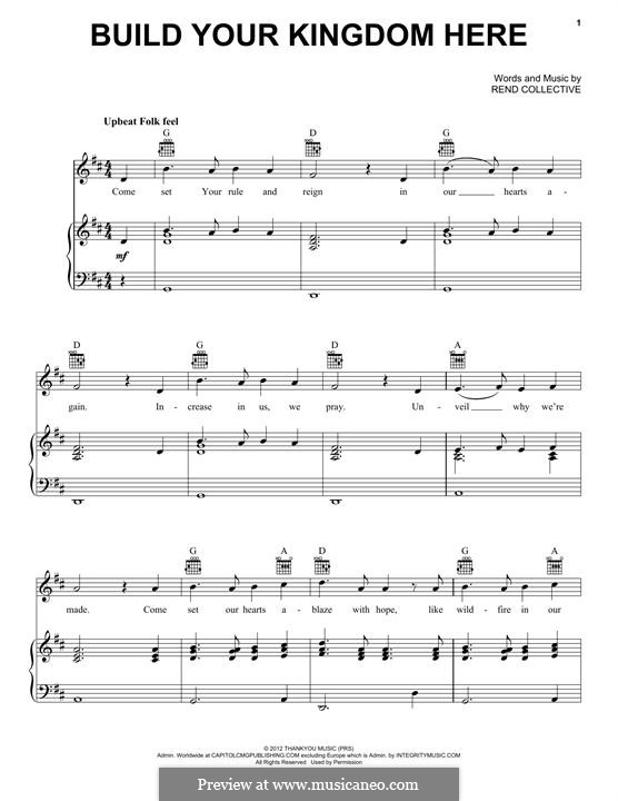 Build Your Kingdom Here: Для голоса и фортепиано (или гитары) by Rend Collective