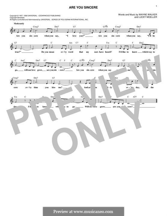 Are You Sincere: Мелодия by Lucky Moeller, Wayne P. Walker