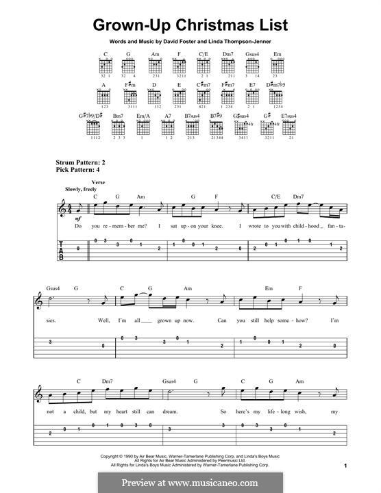 Grown-Up Christmas List: Гитарная табулатура by David Foster, Linda Thompson-Jenner