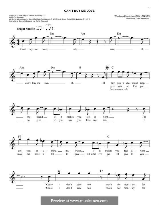 Can't Buy Me Love (The Beatles): Мелодия by John Lennon, Paul McCartney