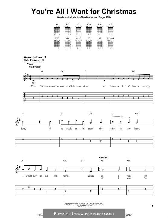 You're All I Want for Christmas (Brook Benton): Гитарная табулатура by Glen Moore, Seger Ellis