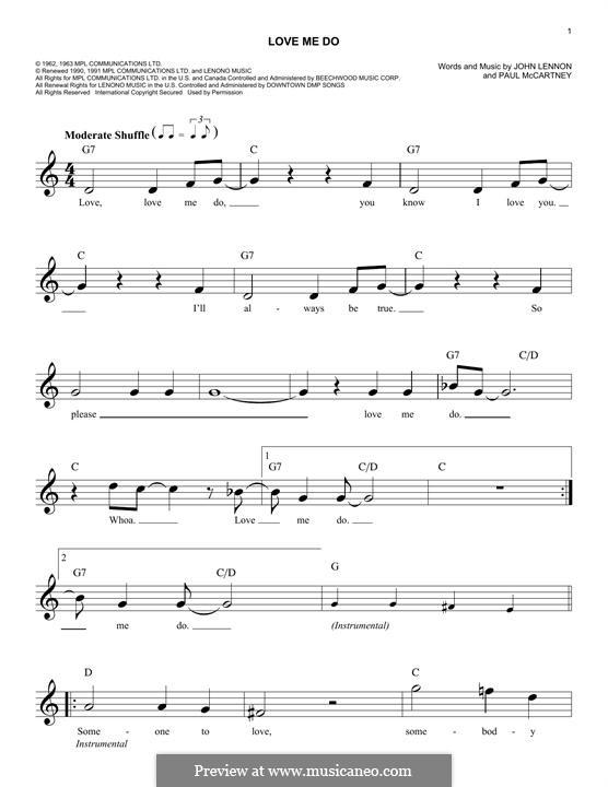 Love Me Do (The Beatles): Мелодия by John Lennon, Paul McCartney