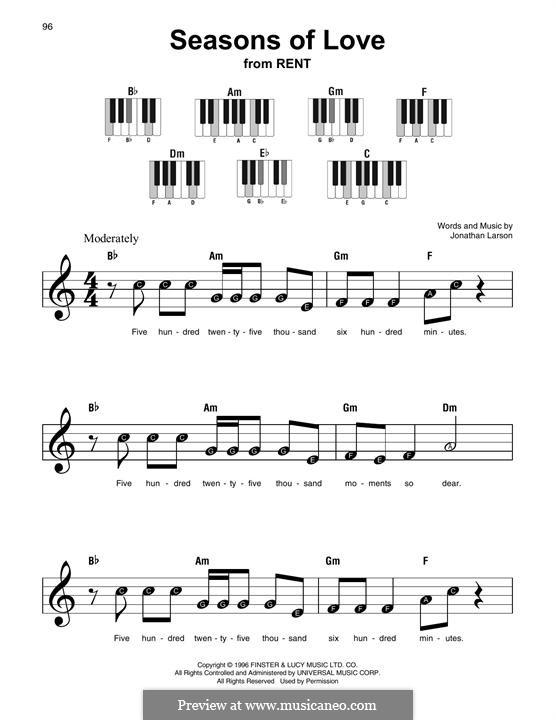 Seasons of Love (from Rent): Мелодия by Jonathan Larson