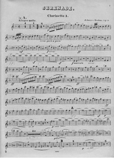 Серенада No.1 ре мажор, Op.11: Партия I кларнета by Иоганнес Брамс