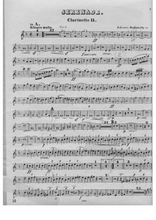 Серенада No.1 ре мажор, Op.11: Партия II кларнета by Иоганнес Брамс