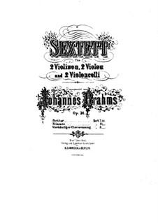 Струнный секстет No.2 соль мажор, Op.36: Версия для фортепиано в 4 руки by Иоганнес Брамс