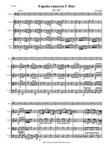 Concerto for Fagotto and Strings in C Major, RV 467: Score and parts by Антонио Вивальди