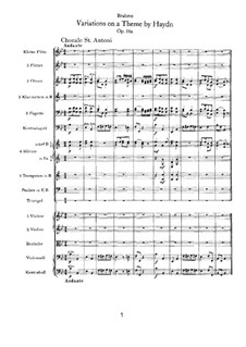 Вариации на тему Гайдна, Op.56a: Партитура by Иоганнес Брамс