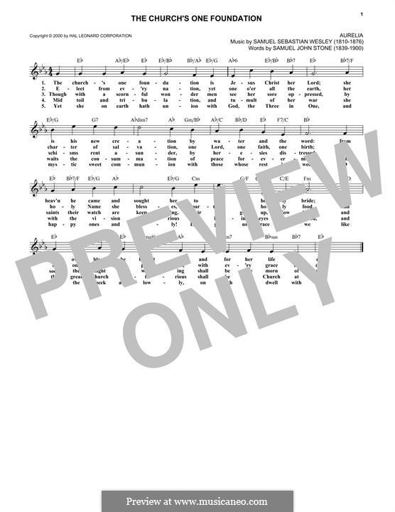The Church's One Foundation: Мелодия by Сэмюэль Себастьян Уэсли