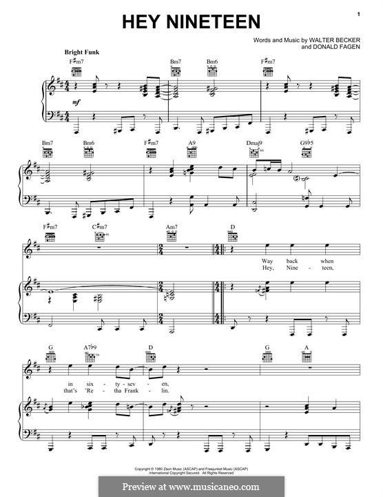 Hey Nineteen (Steely Dan): Для голоса и фортепиано (или гитары) by Donald Fagen, Walter Becker