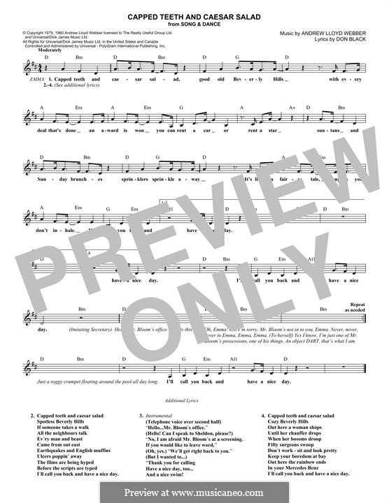 Capped Teeth and Caesar Salad: Мелодия by Andrew Lloyd Webber
