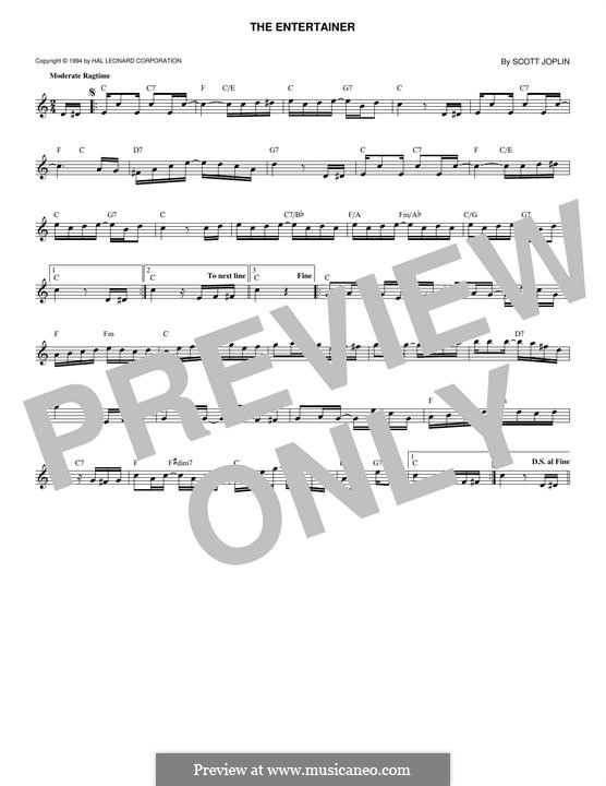 The Entertainer (Printable Scores): Мелодия by Скотт Джоплин