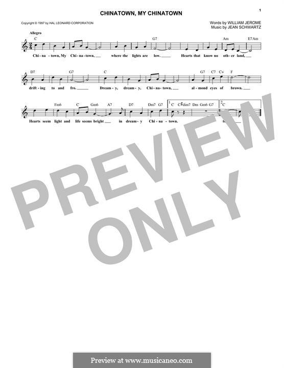 Chinatown, My Chinatown (Louis Armstrong): Мелодия by William Jerome, Jean Schwartz