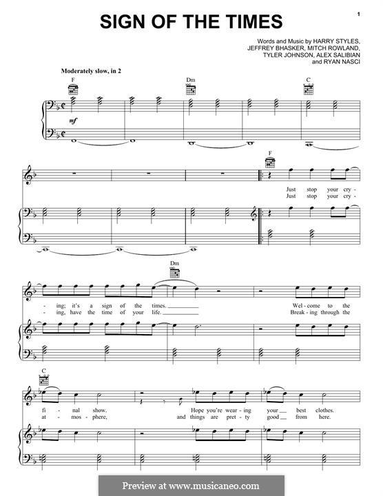 Sign of the Times: Для голоса и фортепиано (или гитары) by Jeff Bhasker, Harry Styles, Tyler Sam Johnson, Alex Salibian, Mitch Rowland, Ryan Nasci