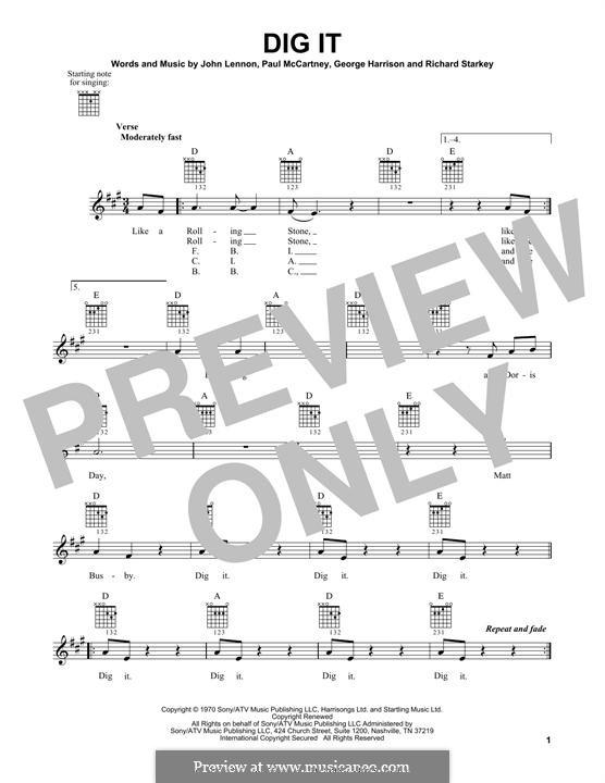 Dig It (The Beatles): Гитарная табулатура by George Harrison, John Lennon, Paul McCartney, Ringo Starr