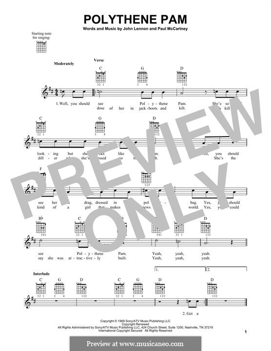 Polythene Pam (The Beatles): Гитарная табулатура by John Lennon, Paul McCartney