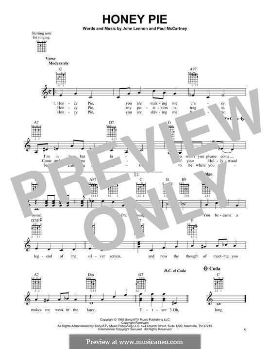 Honey Pie (The Beatles): Гитарная табулатура by John Lennon, Paul McCartney