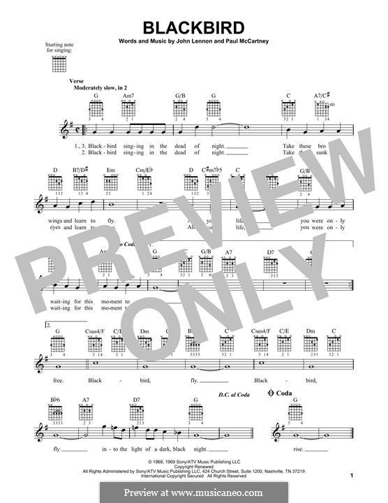 Blackbird (The Beatles): Гитарная табулатура by John Lennon, Paul McCartney