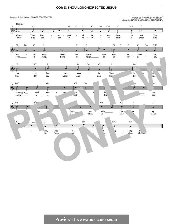 Come, Thou Long-Expected Jesus: Текст, аккорды by Rowland Huw Prichard