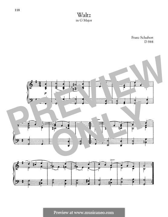 Вальс соль мажор, D.844: Для фортепиано by Франц Шуберт