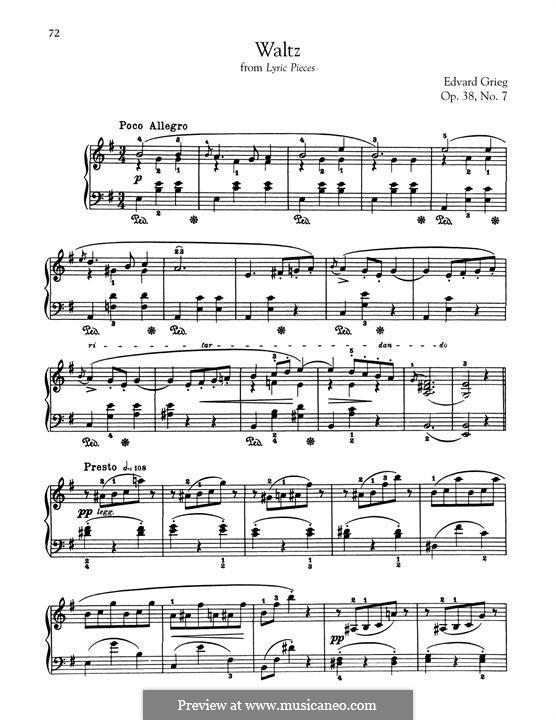 Лирические пьесы, Op.38: No.7 Waltz by Эдвард Григ