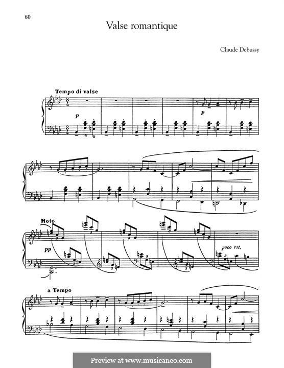 Романтический вальс, L.71: Для фортепиано by Клод Дебюсси
