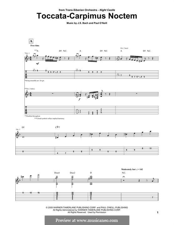 Toccata-Carpimus Noctem (Trans-Siberian Orchestra): Для гитары by Иоганн Себастьян Бах, Paul O'Neill