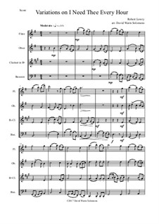 I Need Thee Every Hour: Variations, for wind quartet by Роберт Лоури