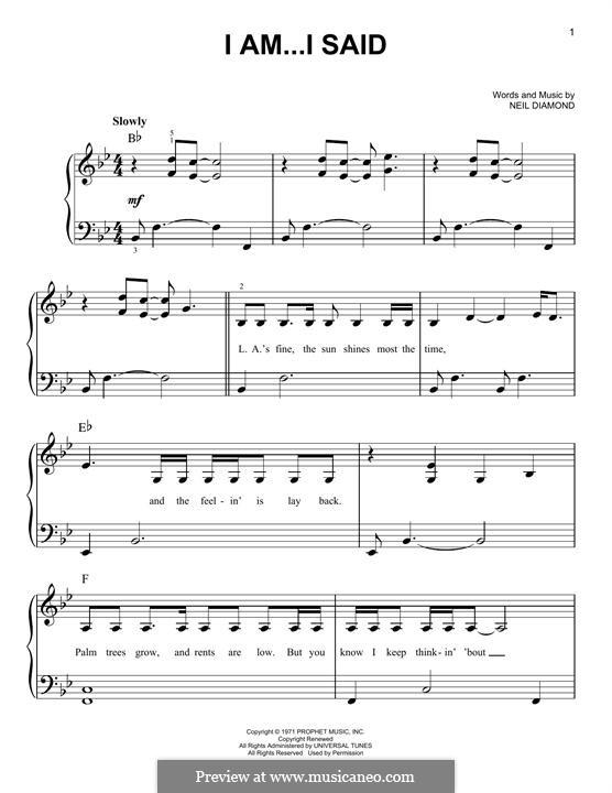 I Am...I Said: Для фортепиано by Neil Diamond